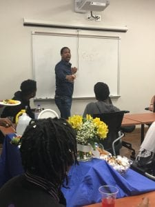 Dr. Hakeem talks to students at Roosevelt High School