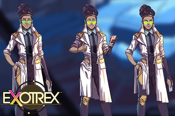 ExoTrex2 stem game character concept of female space operative