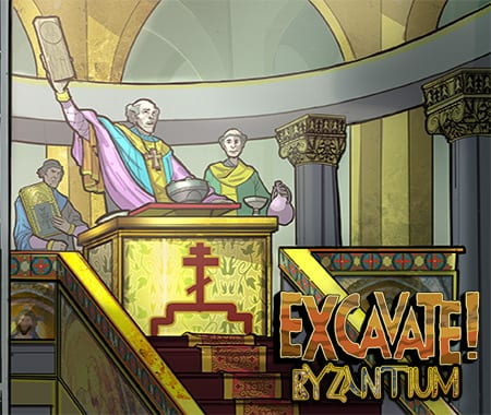 History scene from social studies game Excavate! Byzantium