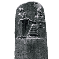 A stone image of Hammurabi, a king in Mesopotamia