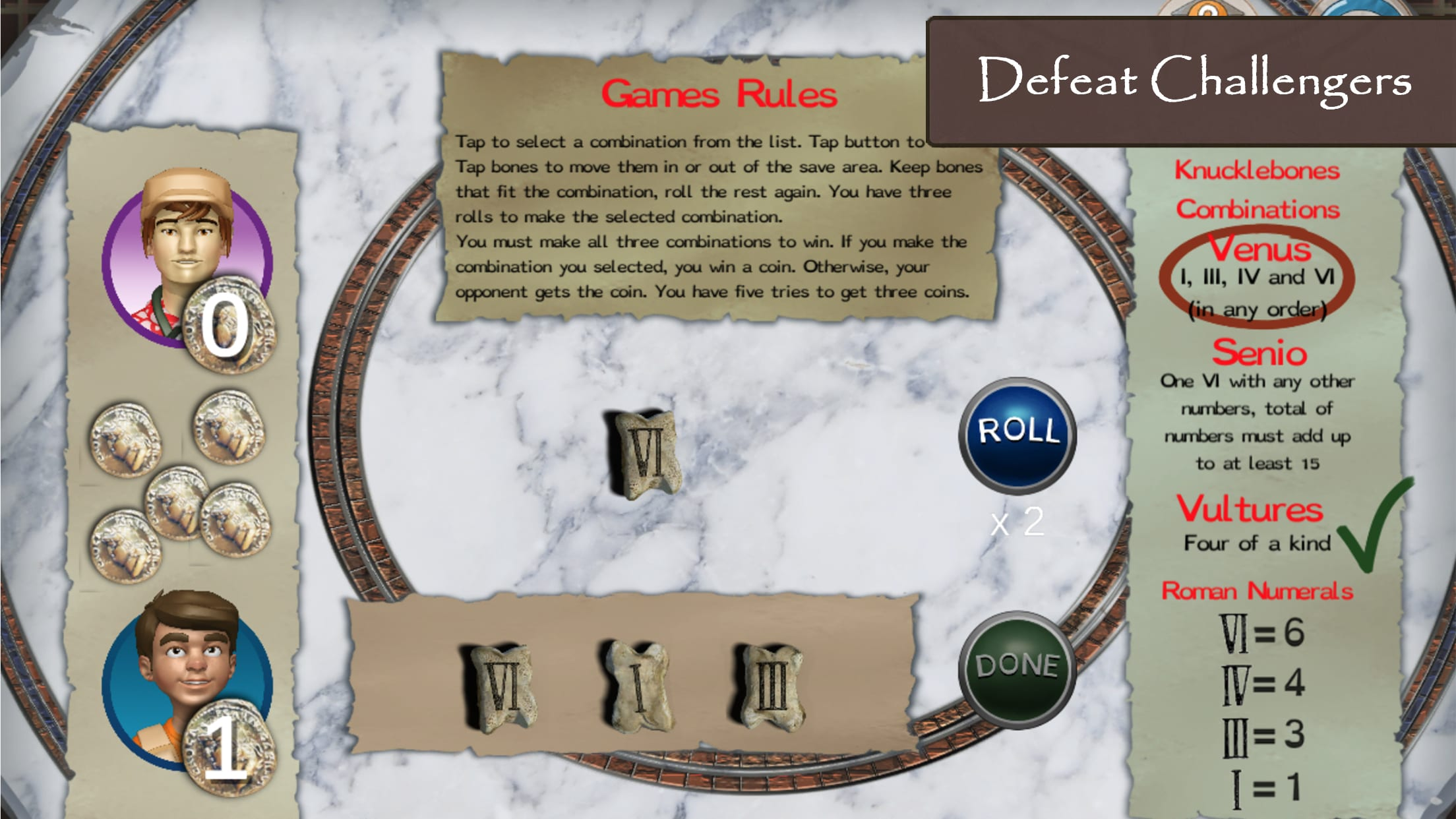 Roman Town 2 features a lot of history games based on real Roman games